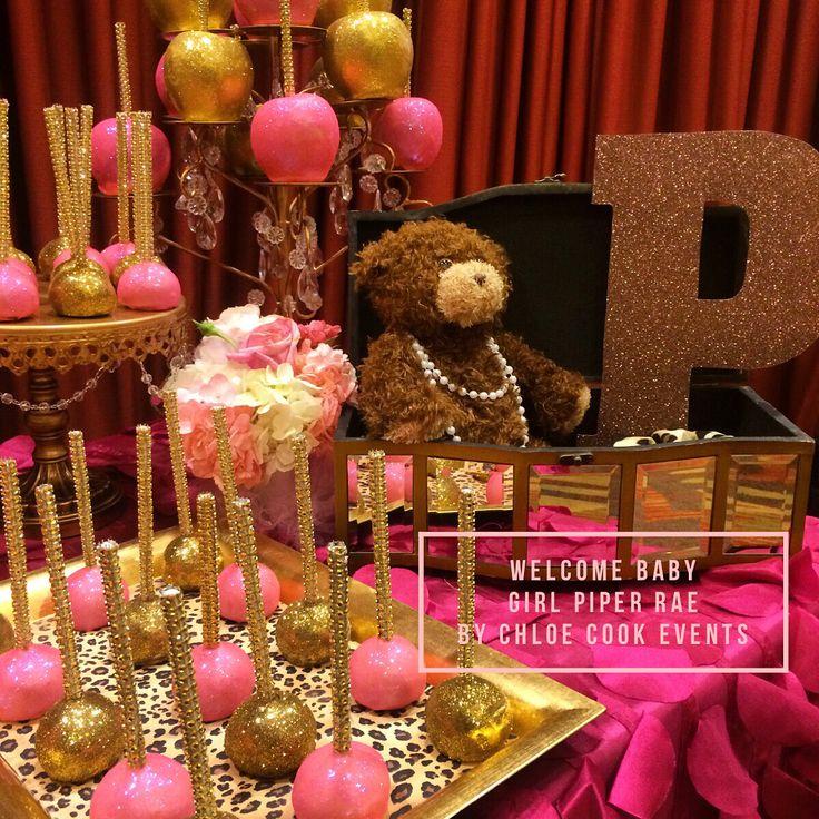 Pink gold leopard ballerina girl baby shower dessert table ...