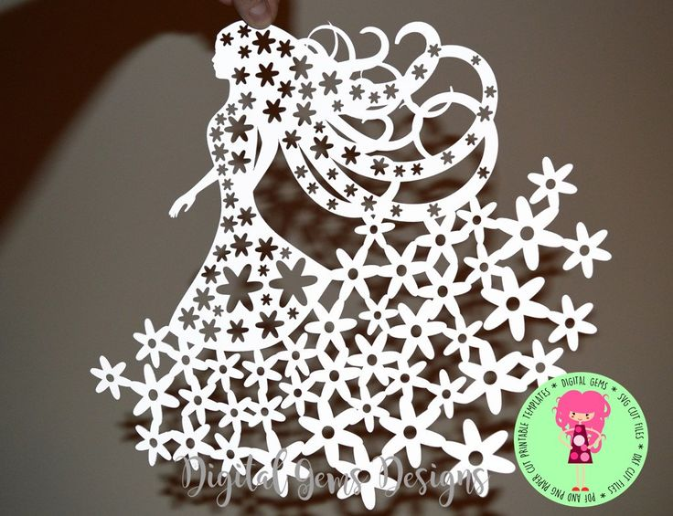 Flower Girl Paper Cut Template, Download, SVG / DXF Cutting file for Cricut / Silhouette & PDF Printable For Hand Cutting. Commercial Use Ok by DigitalGems on Etsy
