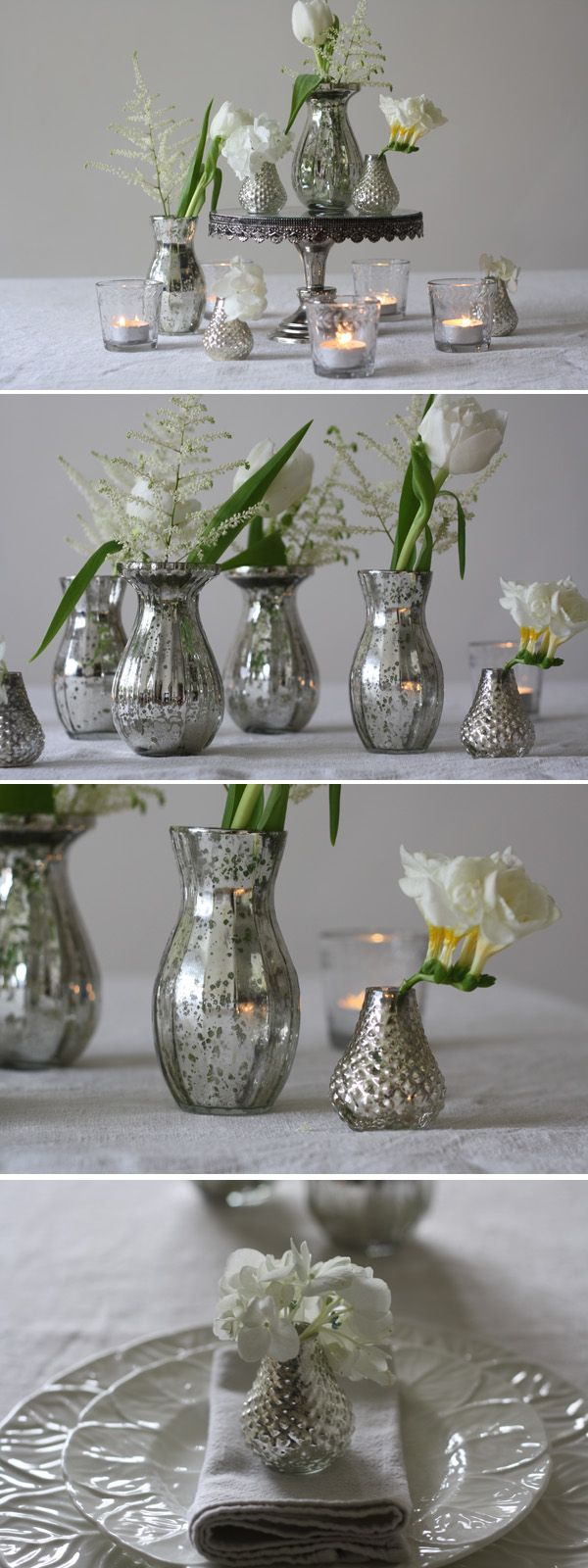 Silver glass vases mercury small bud