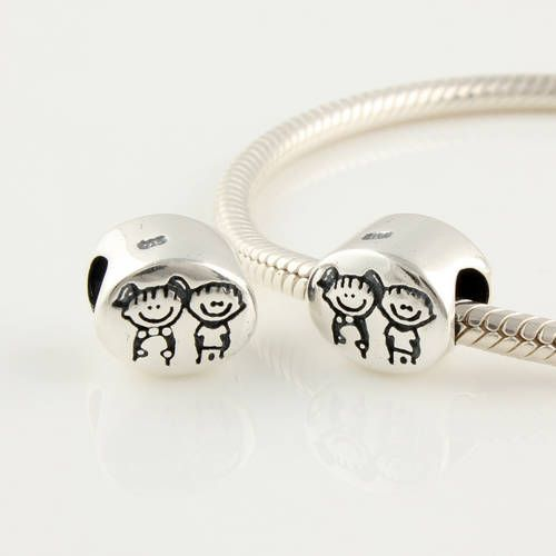 CLFJ261 925 Sterling Silver Brother And Sister Pandora Charms beads Jewelry on sale,for Cheap,wholesale