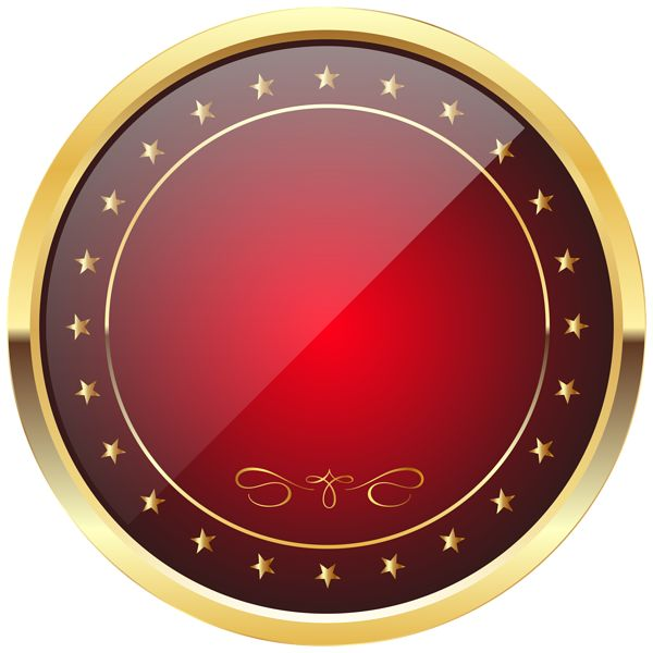 Red and Gold Badge Template Transparent PNG Clip Art Image