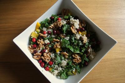 Bite-sized thoughts: Barley salad with kale, walnuts, cranberries and an orange-maple dressing