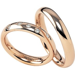 18ct rose gold wedding rings by furrer jacot