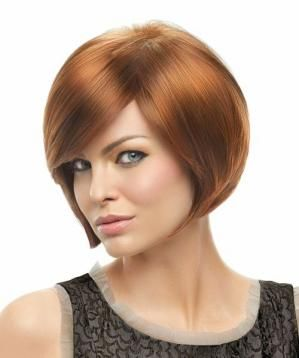 """""""A smooth, chin-length bob with side swept bangs and sleek sides that gently graduate up to a collar length, neck-hugging nape."""""""