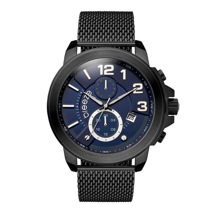 Ανδρικό μοντέρνο αδιάβροχo ρολόι BREEZE 810732.3 Hommage με μπλε καντράν και μαύρο ατσάλινο μπρασελέ | Ρολόγια BREEZE ΤΣΑΛΔΑΡΗΣ στο Χαλάνδρι #breeze #hommage #μπλε #μπρασελε #tsaldaris