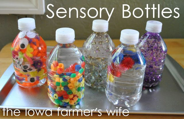 Baby & Toddler Sensory Bottles.  I like this better than the plastic bags for Eli right now, he would totally bite a hole in those.
