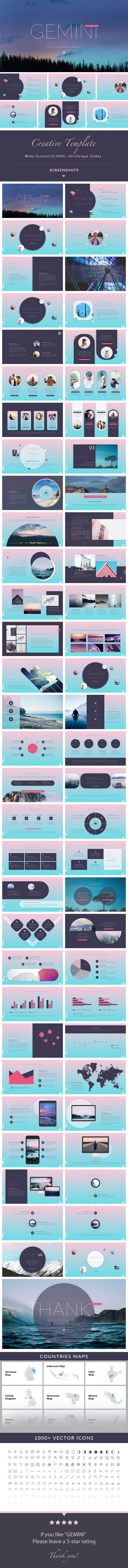 GEMINI - Creative PowerPoint Presentation Template - 62+ Unique Slides