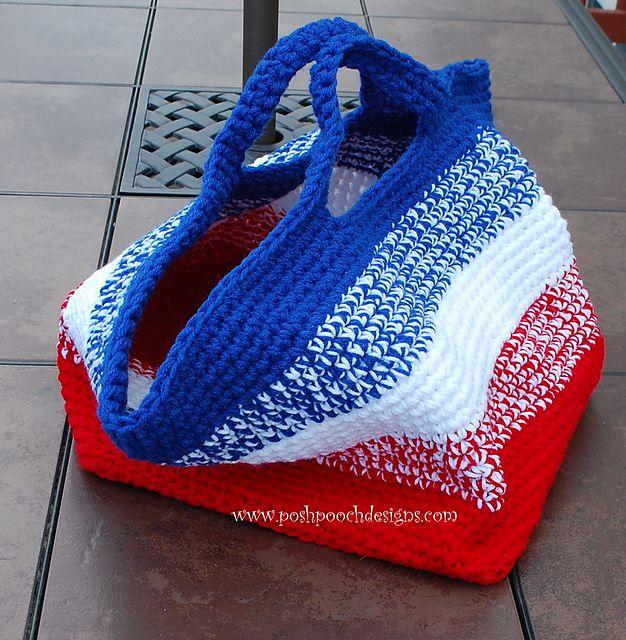 "Free pattern for ""Big Striped Bag"" by Sara Sach!"