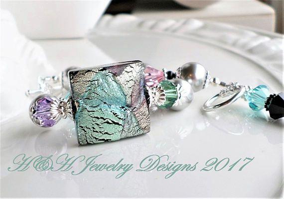 Murano Glass Bracelet White Gold Venetian Glass Bracelet