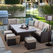 This is how I want my backyard set up! Patio set Belham Living Monticello All-Weather Wicker Sofa Sectional Patio Dining Set from Walmart.