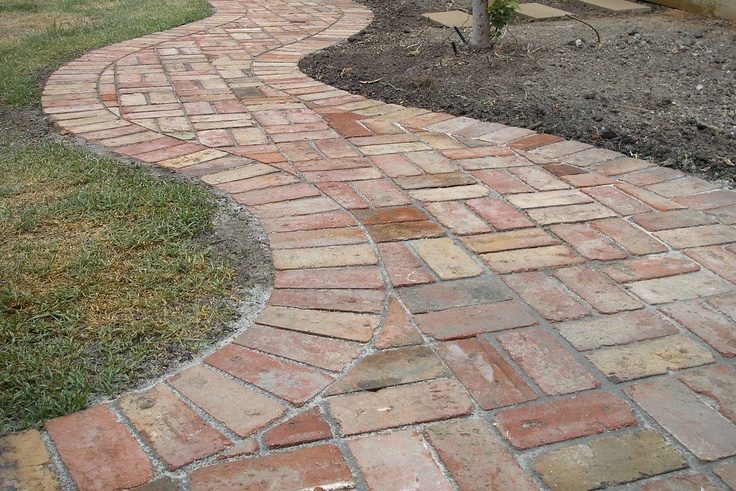 Basket Weave Pattern Paving : Curved path offset with straight lines of basket weave