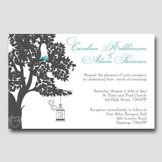 Digital Love Birds Wedding Invitation Package, DIY Wedding invitations, Printable wedding invitation, W10 via Etsy