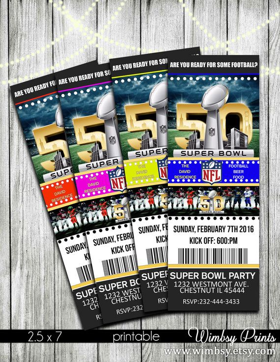 Printable 2016 Super Bowl 50 Ticket Invitation