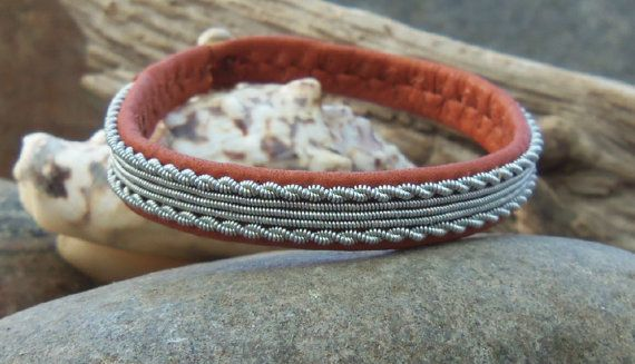 Sami bracelet tan reindeer leather and pewter by spiritofthenorth, $52.00