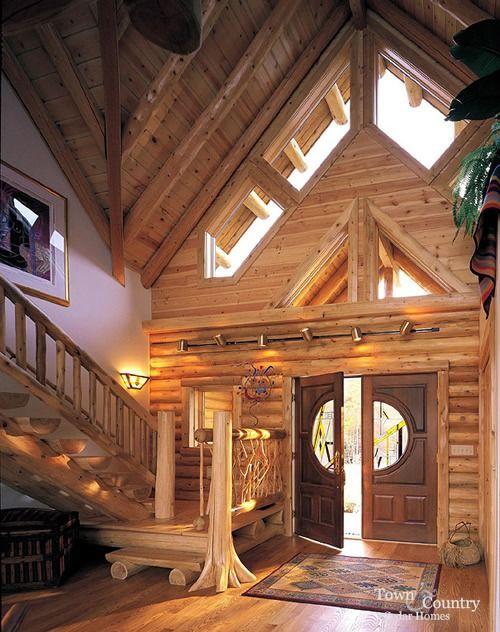 Log home entrance-way.