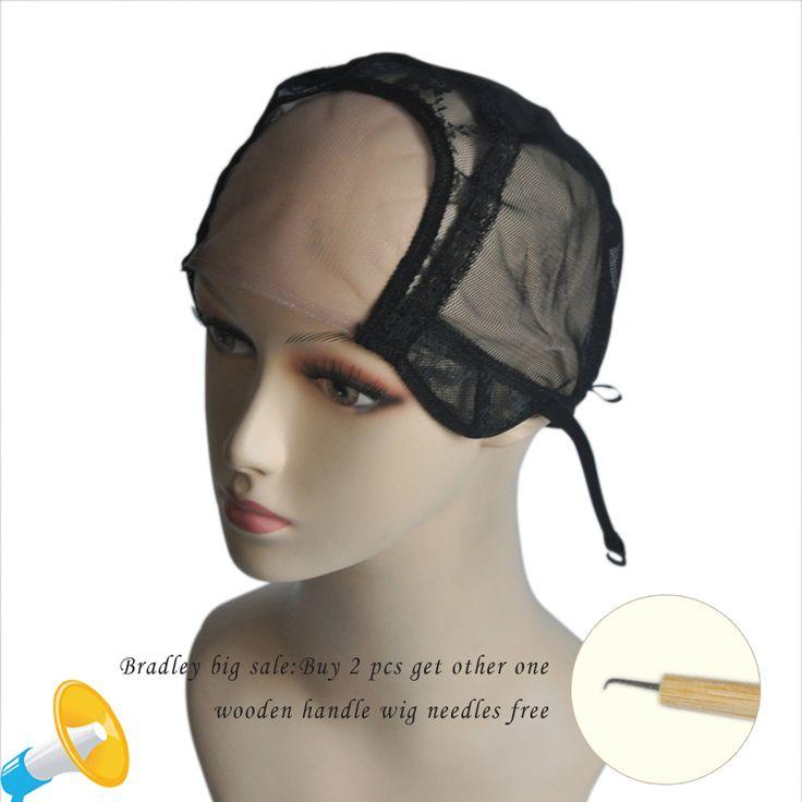 """Kualitas tinggi 4 """"* 4"""" U Bagian Dengan Renda Bersih Topi Wig Untuk Membuat Wig Dengan Tali Adjustable Glueless Cap Tenun Hairnet W0500301"""