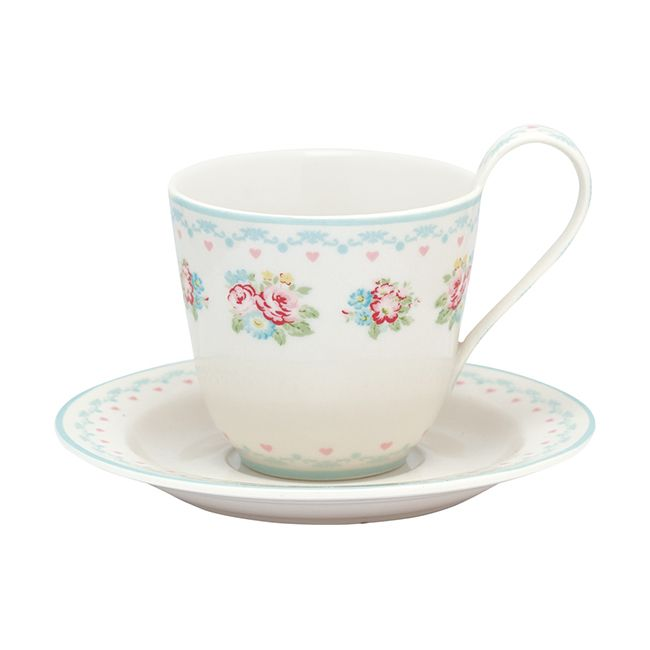Greengate Stoneware Cup And Saucer Abelone White H 9 cm