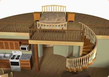 """... """"BONUS SPACE"""" of 350 sq ft (in our 30' diameter model) for a children's bedroom The ceiling of the bedrooms and bathroom becomes the floor of the loft."""