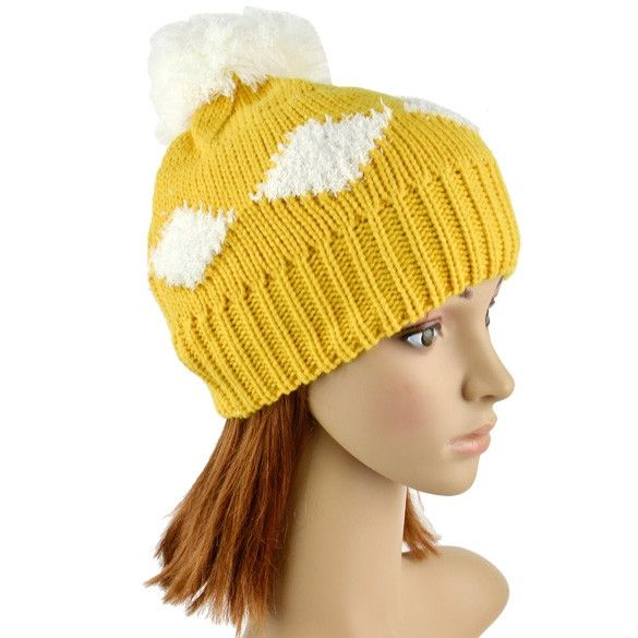 New Women's Diamond Grid Pattern Beanie Crochet Knit Winter Hat Large Ball Cap Ski