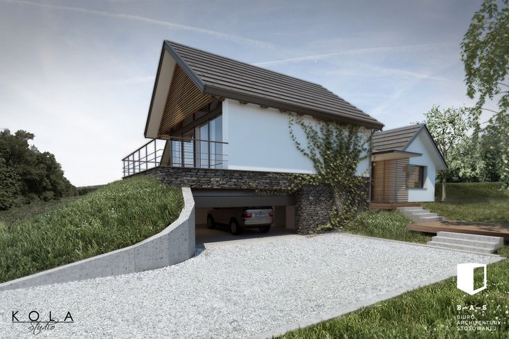Modular house in a contemporary cottage style. Visualization of a project by B-A-S Biuro Architektury Stosowanej.