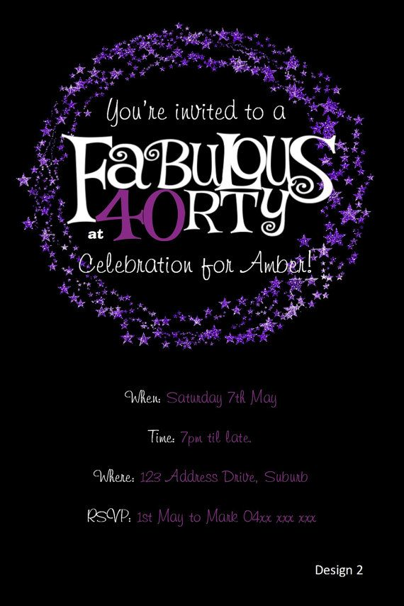 40.o invitación del cumpleaños  brillo púrpura por KleezPrints