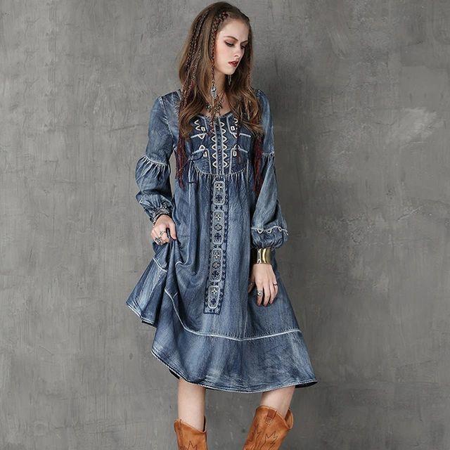 Зима женщины платье 2015 Yuzi новый урожай джинсовые платья о-образным шею длинными рукав фонарик вышивка Vestido A6553 Vestidos Femininos