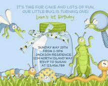 Niño invitación del cumpleaños - Caterpillar saltamontes gusano azul y verde invitación imprimible del insecto
