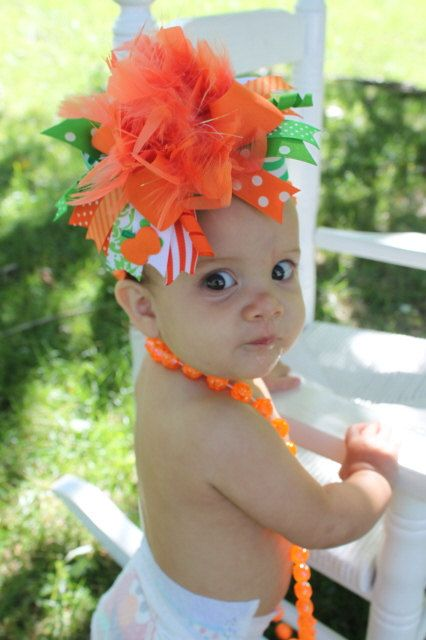 Bow is too much, but i love the necklace!! Over The Top Boutique Pumpkin Bow Perfect by DarlingLittleBowShop, $21.95