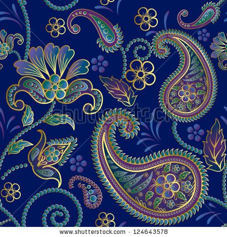 Paisley seamless pattern.Raster copy of vector file. - stock photo