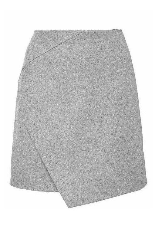 Cross Over Mini Skirt in Gary #genuine-people #gray #skirt