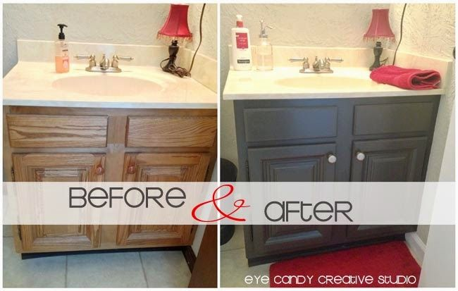 Tips And Ideas How To Update Oak Or Wood Cabinets Paint Stain And More Painting Bathroom Cabinets Oak Bathroom Oak Bathroom Cabinets