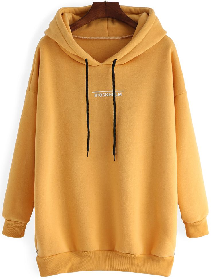 Hooded Letter Print Dip Hem Zipper Slit Yellow Sweatshirt-romwe