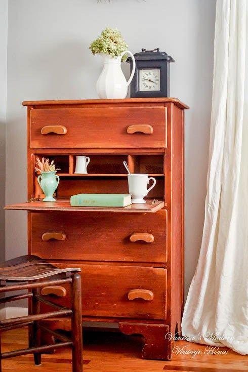 Antique dresser with built-in desk - Vanessa's Modern Vintage Home