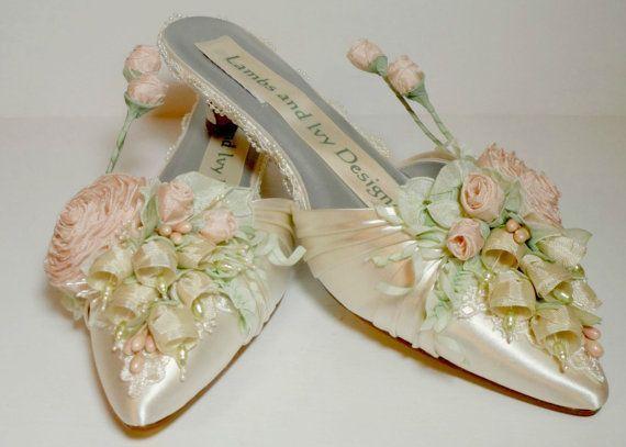 Blush Rose sapatos de noiva jardim casamento Downton Abbey noiva sapatos primavera   – Shoes
