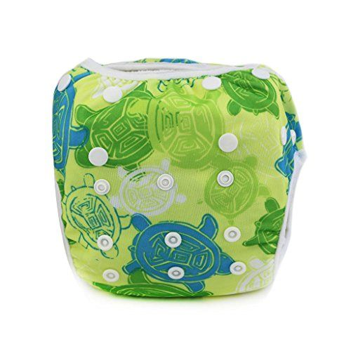 Sijueam Schwimmwindel Waschbar Mehrwegwindeln Baby Diapers Wasserdicht Windelhosen Unisex Einheitsgr��e Einstellbar Badeshorts Leakproof Wassersport Bademode - Tortoise