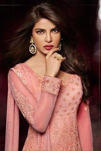 Priyanka chopra -prepossessing anarkali style dress in baby pink fine net…