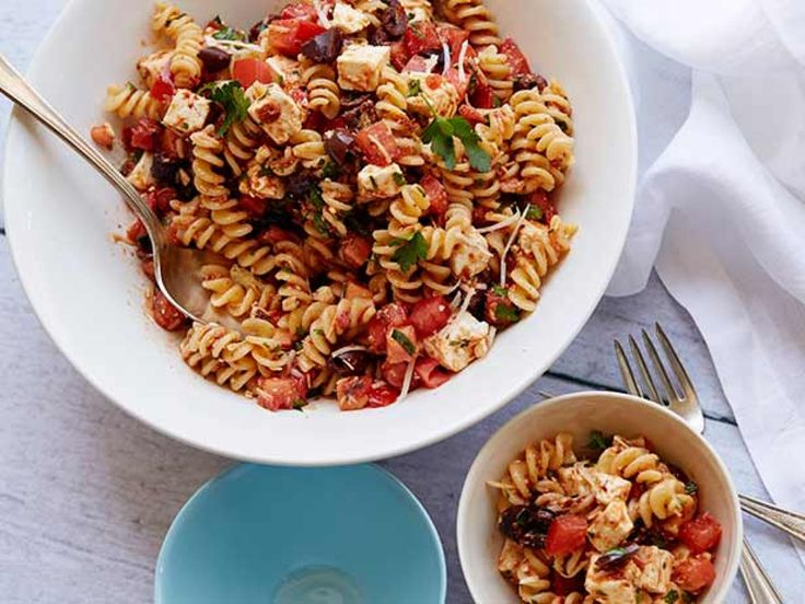 Tomato Feta Pasta Salad recipe from Ina Garten via Food Network. OMG! YUM! 5stars! One reviewer suggested adding the parsley and about 1/2 of the parm to the blender.  Smile!