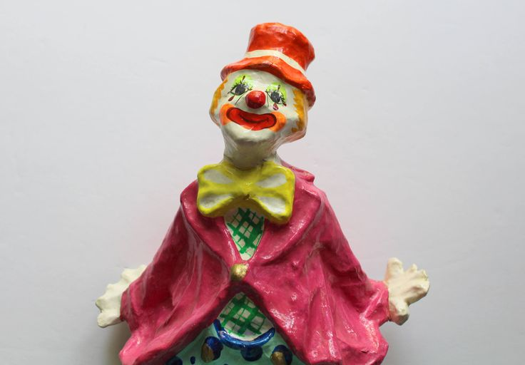Vintage Paper Mache Circus Clown Figure Los Gatos 1960s by WylieOwlVintage on Etsy