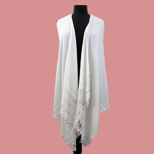 Off White Cardigan Vest Top Flowy Draped Sweater Sleeveless Jacket ...