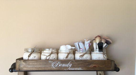 Bathroom mason jar storage beauty storage unit by DandEcustom