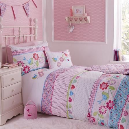 Dunelm Floral Embroidered Pink Songbird Cot Bed Duvet Cover Set