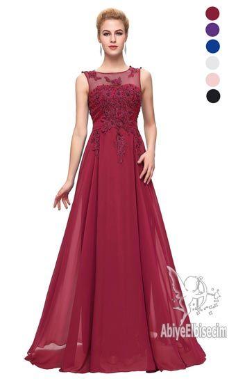 Uzun Abiye Golden Red Elbiseler Elbise Giyim