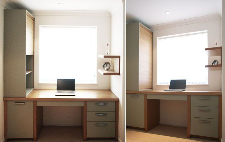 Compact fitted home office desk with pedestal and roller-shutter shelving.