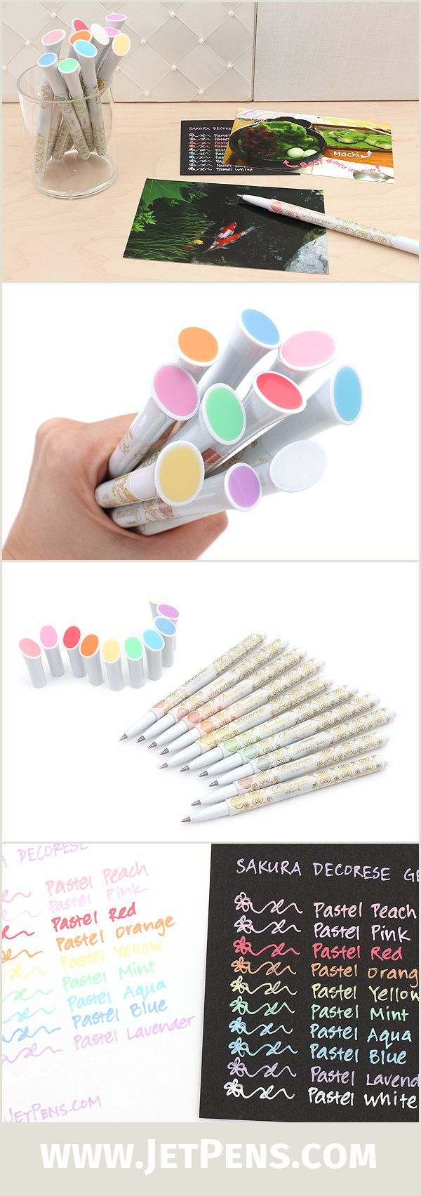 The Sakura Decorese Gel Ink Pens feature bright, pastel-colored ink, and can write on light and dark paper, as well as photos, plastic, glass, and metal!
