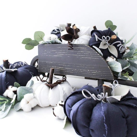 Navy Blue Linen Pumpkins, Fabric Pumpkins + Leather Leaves, Fall Decoration, Fall Farmhouse Decor, F