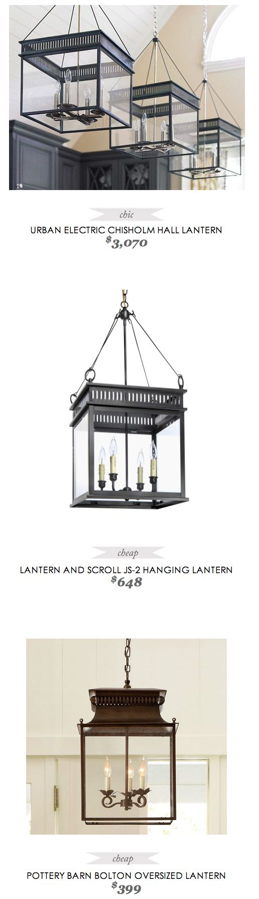 replace traditional chandelier with lantern