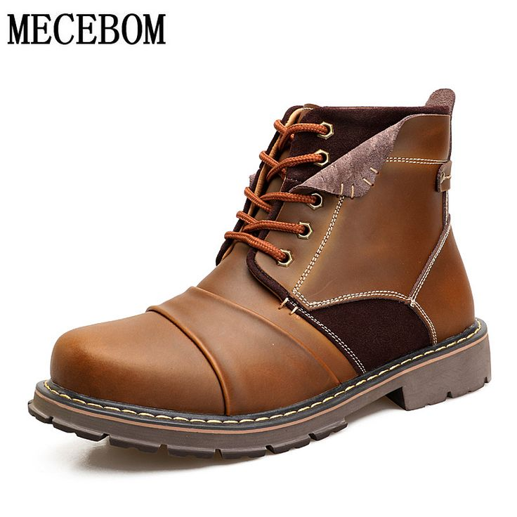 Men's winter snow boots fashion genuine leather ankle boot lace-up plush warm casual shoes sapato big size 38-45 7101m. Yesterday's price: US $42.90 (34.81 EUR). Today's price: US $42.90 (34.81 EUR). Discount: 45%.