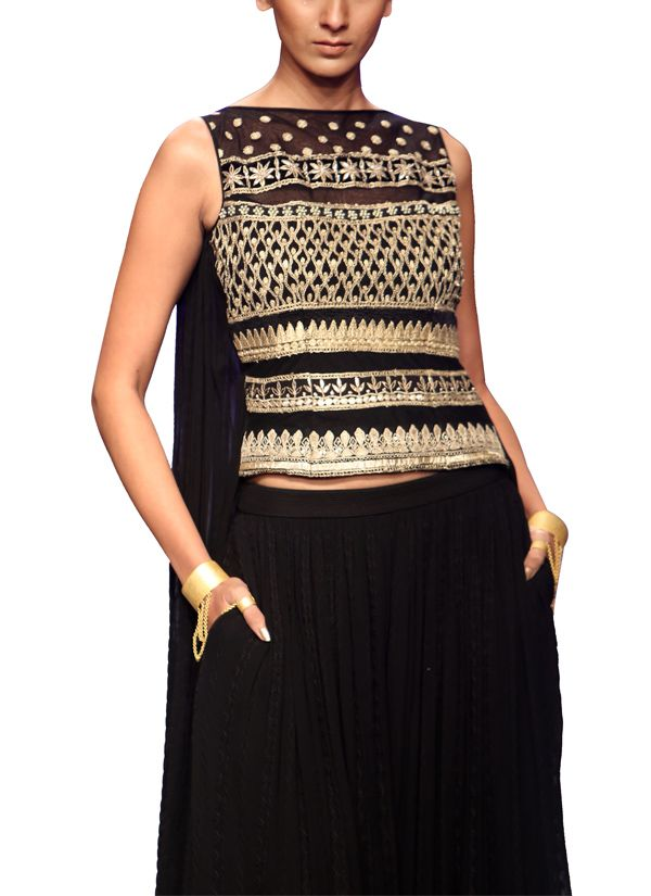 Indian Fashion Designers - Anita Dongre - Contemporary Indian Designer - Lehengas - AD-AW14-SI130-SI144 - Stunning Black Embroidered Set