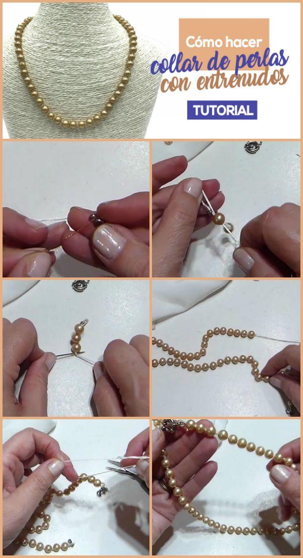 a6d61a861a87 Cómo hacer Collar de Perlas con Entrenudos