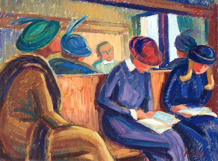Agnes Cleve (1876-1951)  Reading on the train